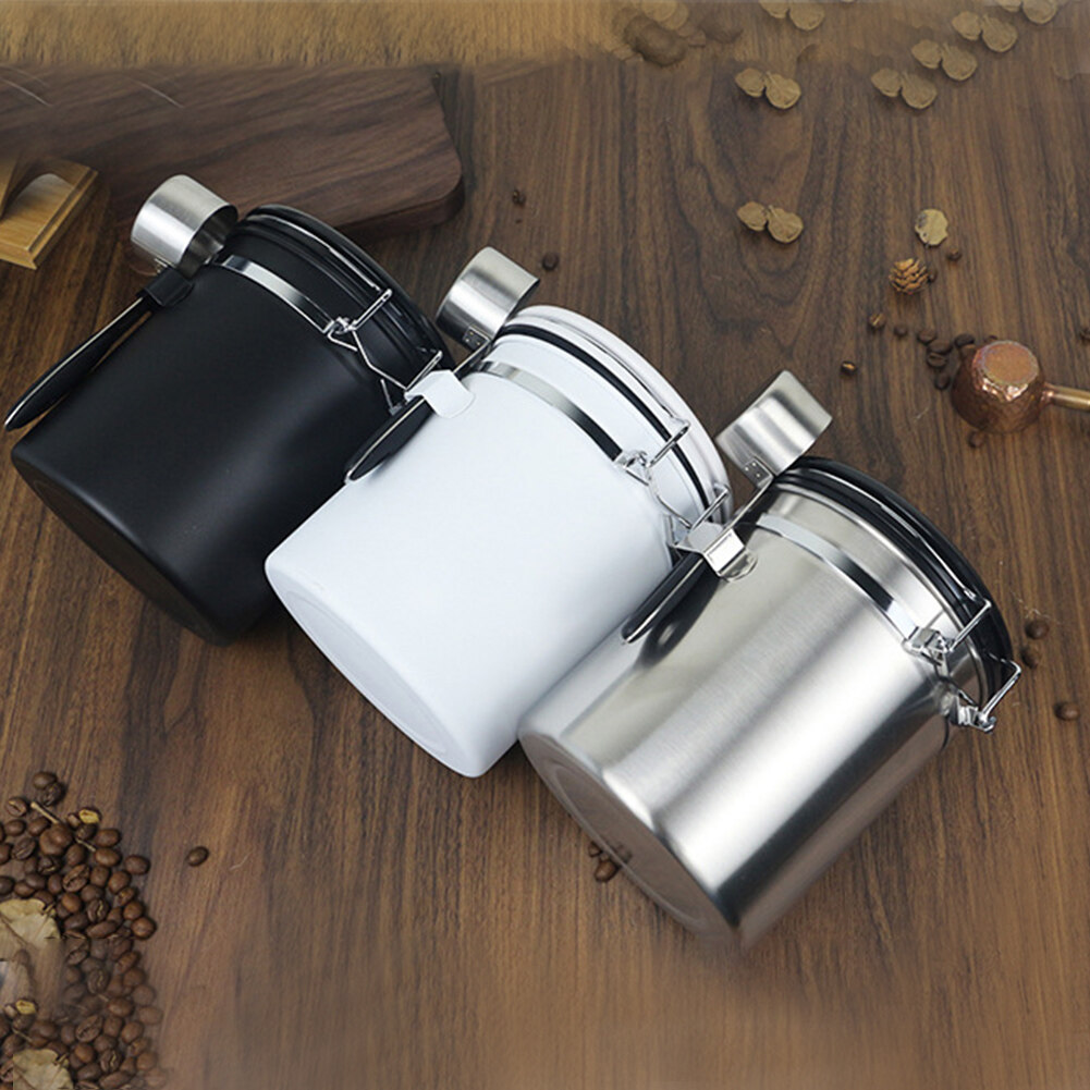 Stainless Steel Tea Sugar Can With Spoon One Way Valve Coffee Canister Container