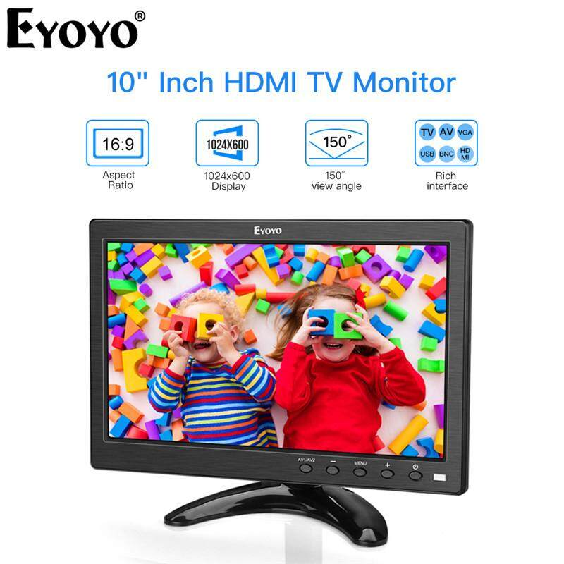 【Standard Free】Eyoyo 10 Inch Small TV Monitor HDMI Portable Kitchen TV  1024x600 LCD Screen with TV/HDMI/VGA/AV/USB Input & Remote Control for  Multi