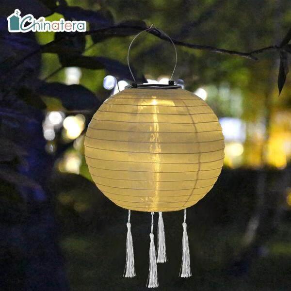 [Chinatera] Đèn Lồng LED Tua Rua Năng Lượng Mặt Trời 12Inch Đèn Lễ Hội Trung Quốc Màu Trơn Đèn Treo Không Thấm Nước Đèn Chùm Chiếu Sáng Cảnh Quan Trang Trí Sân Vườn Gia Đình
