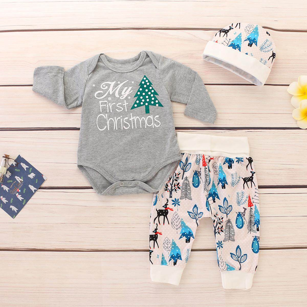 a700ed142dc 2019 New 3pcs set Infant Baby Xmas Clothes My First Christmas Print Baby  Romper+