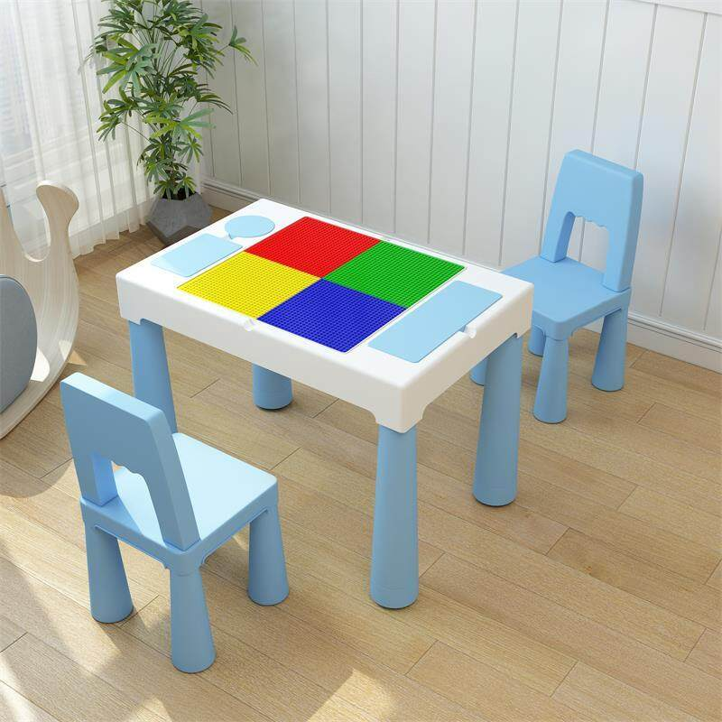 Kids Activity Table Building Blocks and Two Chair Set, Sand Table Craft Table, Building Brick Table with Storage