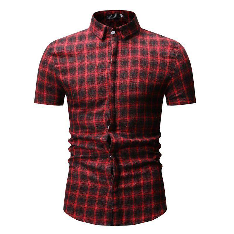 948b5806dcc Men Shirt Plaid Check Lattice Design Mens Clothing Slim fit Mens Dress  Shirts Blouse Men Summer
