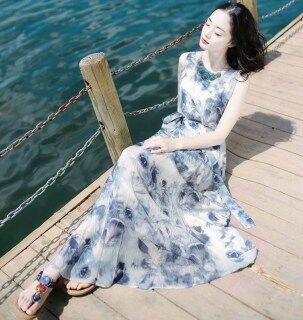 Đầm Dài Không Tay Phong Cách Bohemian Cho Nữ, Dáng Ôm, Có Cổ Chữ V, Có Dải Buộc Eo, Mặc Đi Biển Mùa Hè thumbnail