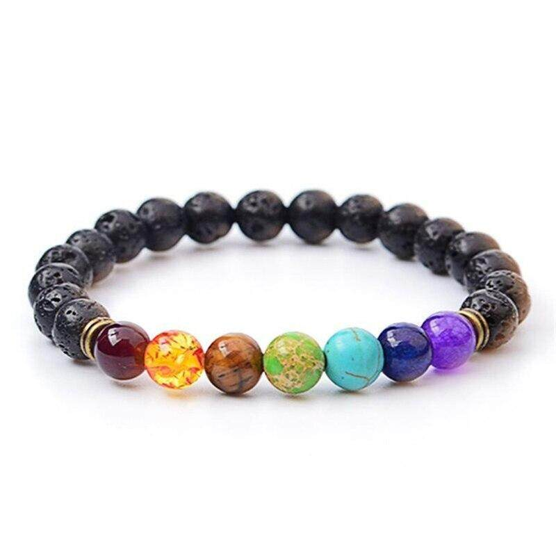 New Fashion Black Lava Rock 8mm Beads 7 Chakra Healing Balance Bracelet for Men Women Prayer Stone Yoga Bracelet Free Shipping-in Charm Bracelets from Jewelry