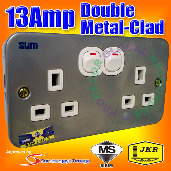 MS-D213 - SUM 13amp Double Metal Clad Switched Socket