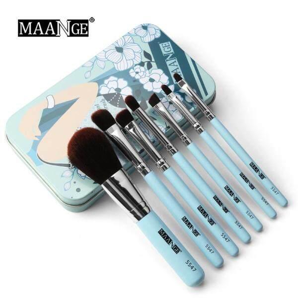 Bộ cọ trang điểm 7 cái/bộ Bộ cọ du lịch mini Bộ mỹ phẩm Phấn nền làm đẹp môi Pinceis de maquiagem Với hộp kim loại