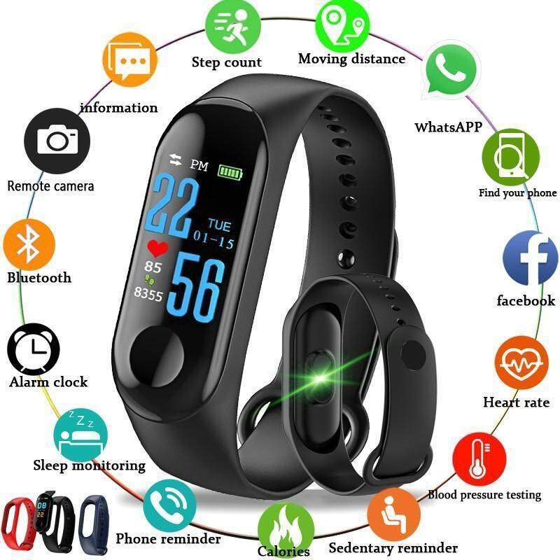 [BDAY SALE] ForlineHigh-quality goods hot style M3 Smart Watch Band Bluetooth IP67 Pressure Fitness Swimming Waterproof GPS Tracker Blood Bracelet Watch For Men Malaysia