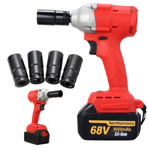 【Free shipping】1/2 Square Drive Cordless Impact Wrench 1*Lithium-Ion Battery Rattle Socket UK plug