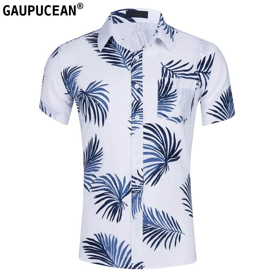 15f9f301cb39 100% cotton summer casual loose US size plants printing Hawaii beach short  sleeve men shirt