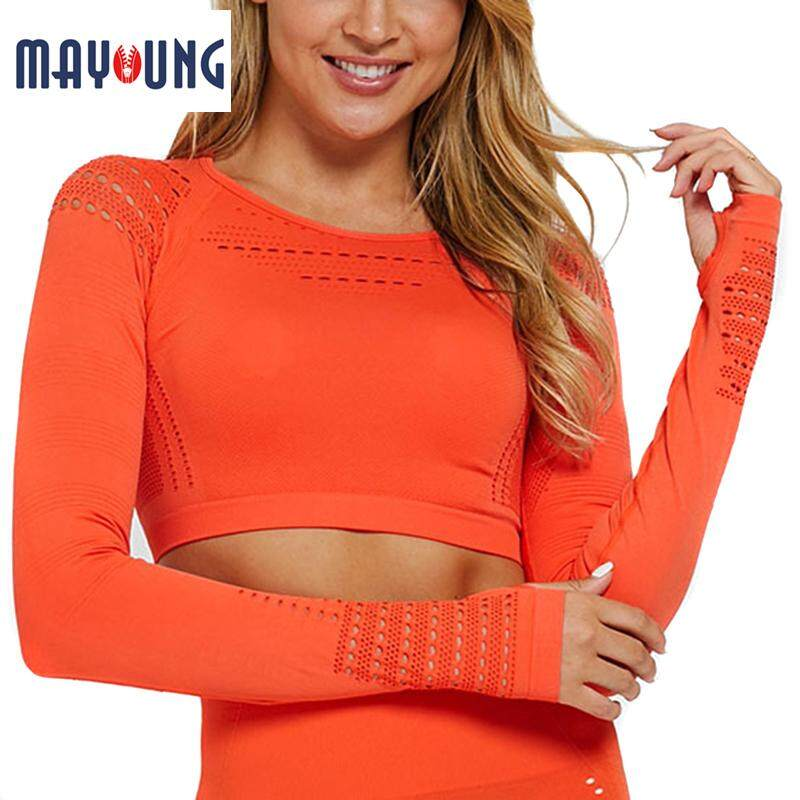 Mayoung ชุดออกกำลังกายหญิงไม่มีรอยต่อออกกำลังกายโยคะชุดอุปกรณ์ออกกำลังกายดัน Leggings แขนยาว Crop ชุด
