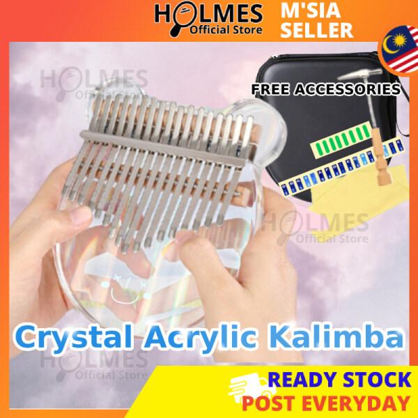 [Free Hard Case] Holmes Acrylic Kalimba Crystal 17Keys Transparent Finger Piano Music Beginner Instrument Keyboard Piano Clear Key 17音拇指琴 [Ready Stock Malaysia] Malaysia