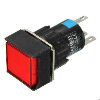 16mm Push Button Self-Reset Switch Square LED Light DC 24V Momentary Latching Night Lamp