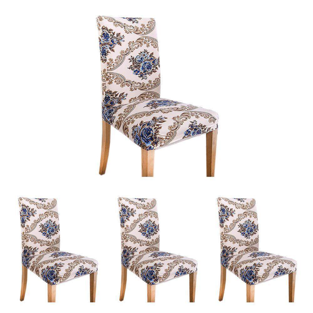 NiceToEmpty 4PCs Spandex Chair Cover Stretch Elastic Dining Seat Protector Anti-dirty Removable Slipcover for Banquet Wedding Hotel