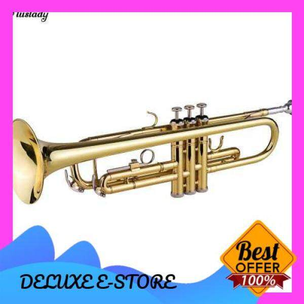 Muslady TR-100 B flat Standard Student Trumpet Bb Key Brass Gold Lacquer Trumpet with Hard Case Straps 7C Mouthpiece Gloves Cleaning Cloth for Beginners Students Music Fans and Band (Standard) Malaysia