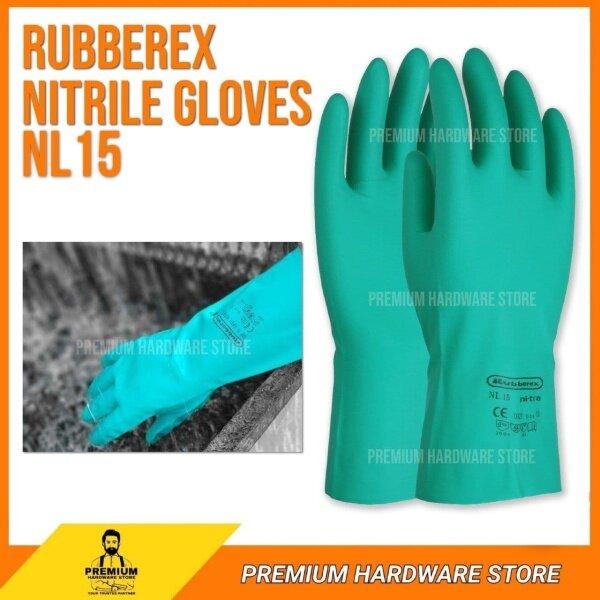 Rubberex Eco Nitrile Gloves NL15(10) Chemical Resistant Sarung Tangan Nitril