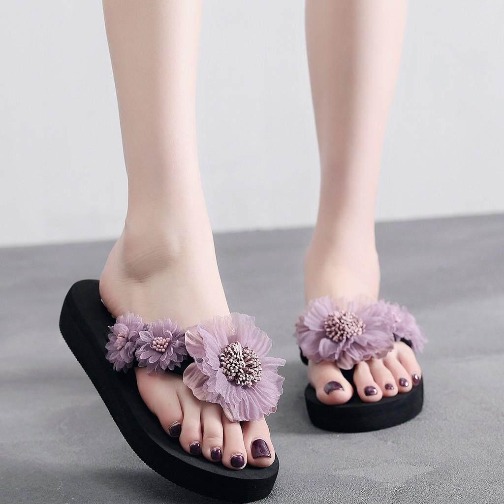 0d43db2e57a99 Malloystore Fashion Flip- flop Women Slip-on Open Toe Flower Wedges Color  Slipper Shoes