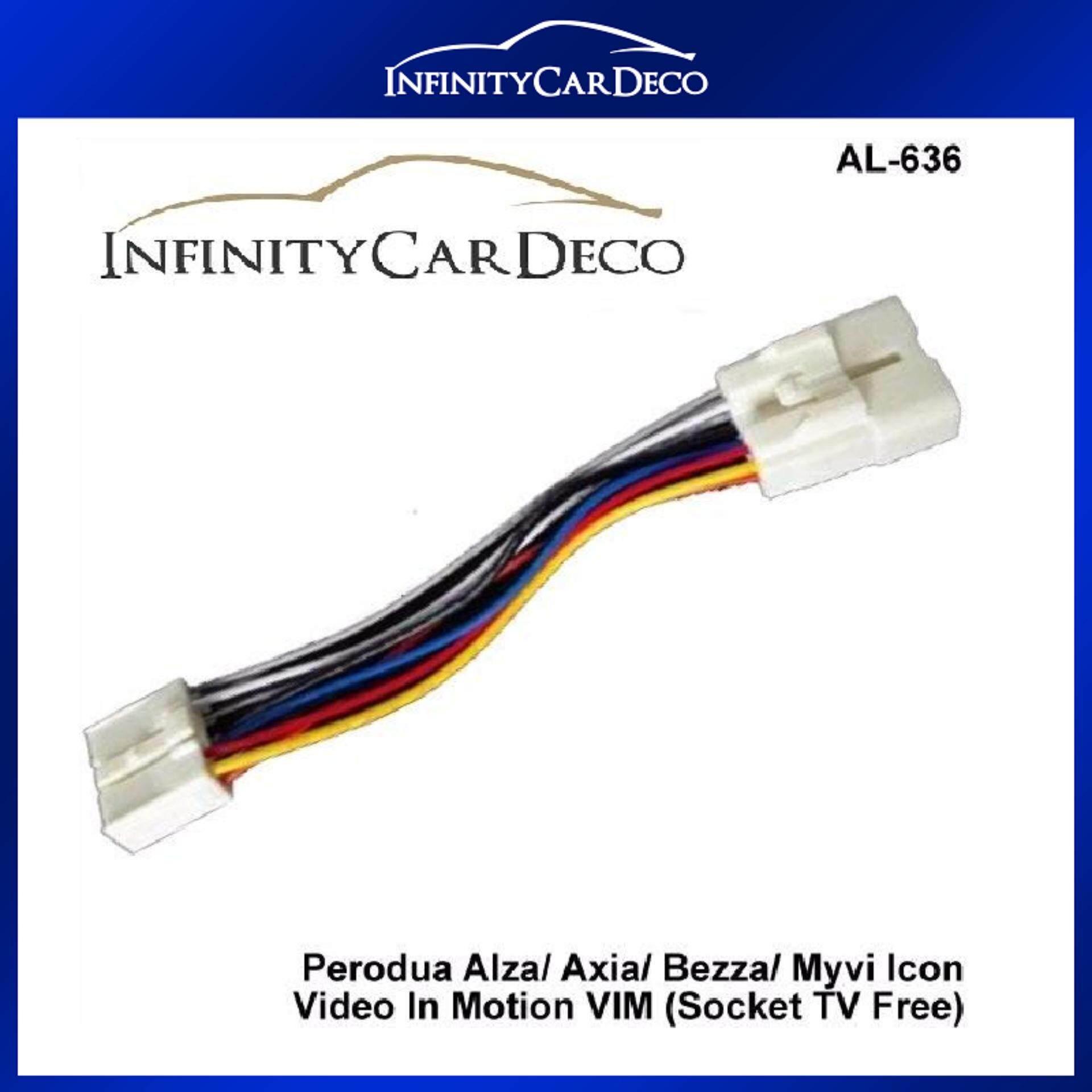 Perodua Axia Alza Bezza Myvi 2011-17 ByPass Cable Video In Motion TV Free