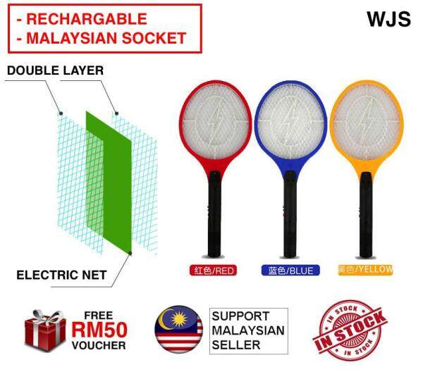 (MALAYSIAN SOCKET) WJS Long Lasting Rechargeable Mosquito Insects Zapper Swatter Mosquito Racket Mosquito Racquet Mosquitos Electric Killer Insect Killer Rechargable MULTICOLOR [FREE RM 50 VOUCHER]