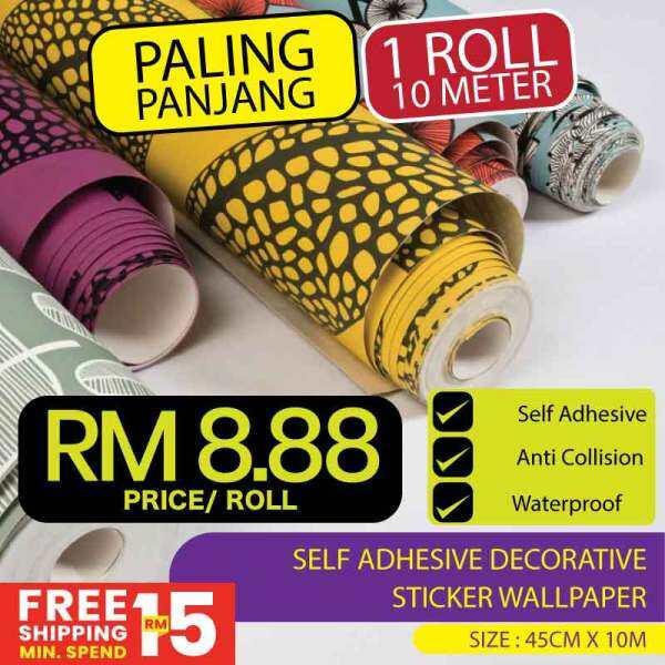 [Carpet Murah Gila] Self Adhesive Decorative Waterproof Vinyl Wallpaper Kertas Dinding Murah Good Quality ( SIAP GAM) 45cm x 10m  (1-25)