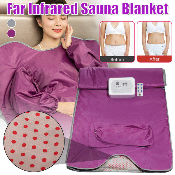 Buy Far Infrared Sauna Blanket Detox Machine Body Slimming Suit Home Spa Weight Loss Beauty Care Purple 110V Singapore