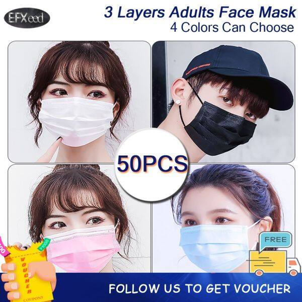 EFXeed 【50PCS】White Blue Pink Black 4 Color Can Choose Dustproof Face Mask 3 Layers Protective Face Shield Individual/Box/Bagged Packing For Men And Women Adults Outdoor