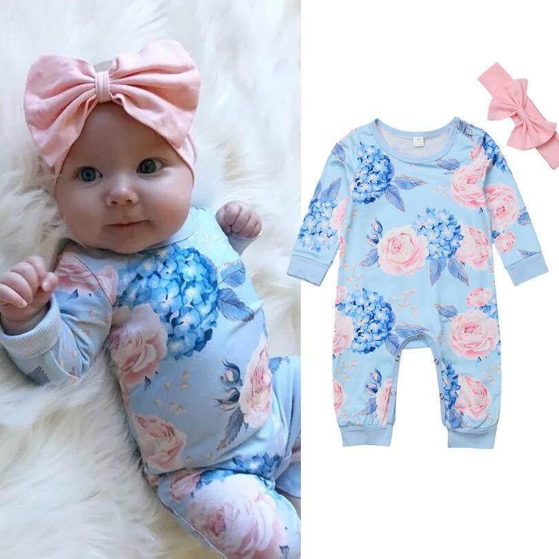 Newborn Baby Girls Floral Romper Bodysuit Jumpsuit Headband Outfits Set Clothes
