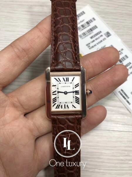 [ONE LUXURY] TANK SOLO 18K ROSE GOLD ON BROWN LEATHER STRAP Malaysia