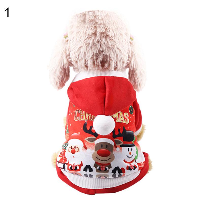 Huanhuang®Quần Áo Chó Hoạt Hình Họa Tiết Giáng Sinh Đồ Dùng Cho Thú Cưng Mèo Vải Flanen Áo Hoodie Antler