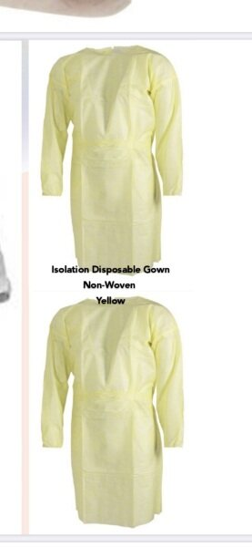 (Ready Stock)Non Woven PP Disposable Isolation Gown Suite(Yellow)