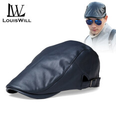 LouisWill Mũ Lưỡi Trai Fang Fang Thời Trang Cho Nam, Mũ Nồi Cabbie Beret Duckbill Chất Liệu Da PU, Màu Đen