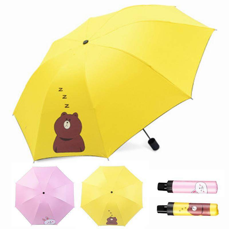 Mini Ultra Light Foldable Umbrella 3 Folding Compact Umbrella For Rain Or Shine Uv Light Protection By D-Live.