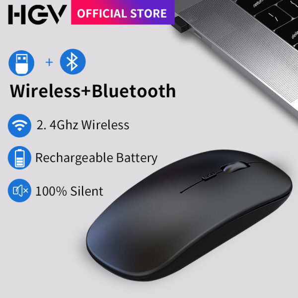 HGV Bluetooth Mouse Ergonomic Mouse Silent Mouse Wireless Bluetooth Dual Mode Computer Mouse PC Rechargeable 2.4Ghz USB Optical Mice for Laptop PC Malaysia
