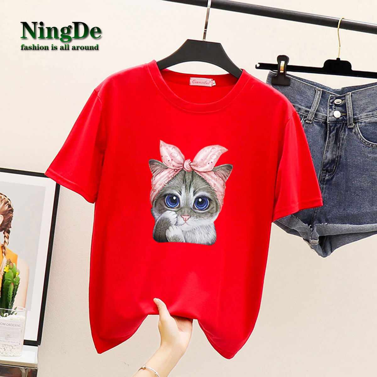 Color : Red, Size : XXL Summer New Ladies Loose T-Shirt Printing Round Neck Short-Sleeved Casual Top