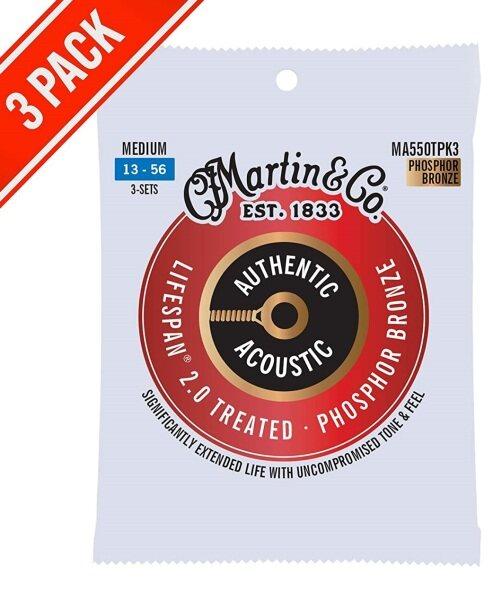 Martin 3 Pack MA550T PK3 Lifespan Treated Phosphor Bronze Authentic Acoustic Guitar Strings Medium 013-056 Malaysia