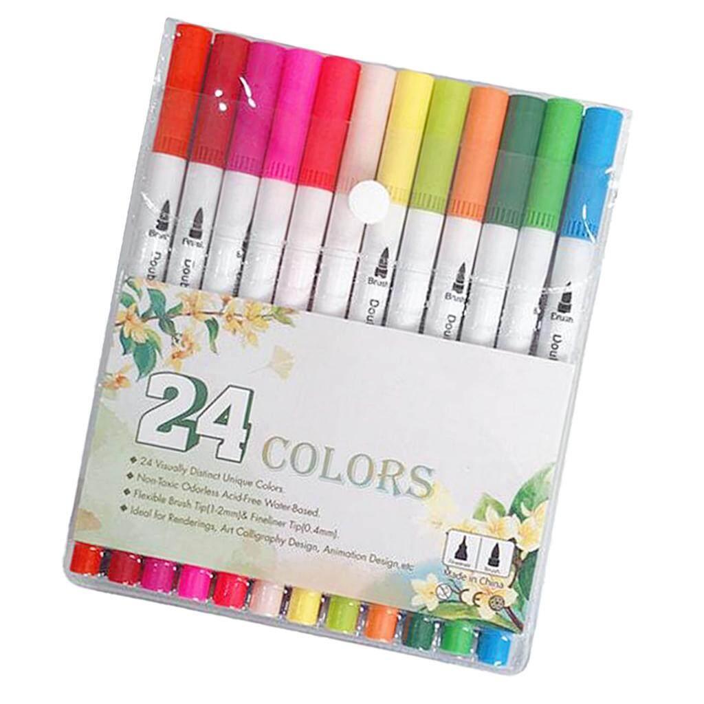 Mua BolehDeals 24 Màu Mịn lót Bút Dual Đầu Bút Đánh Dấu cho vẽ phác thảo vẽ móng nghệ thuật