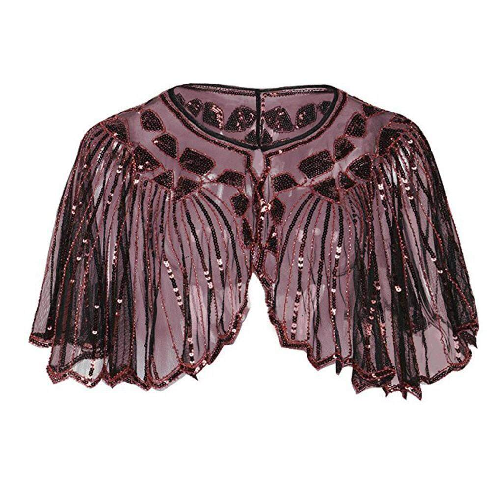 Aiipstore Womens 1920s Shawl Beaded Sequin Deco Evening Cape Bolero Flapper Cover Up By Aiipstore.