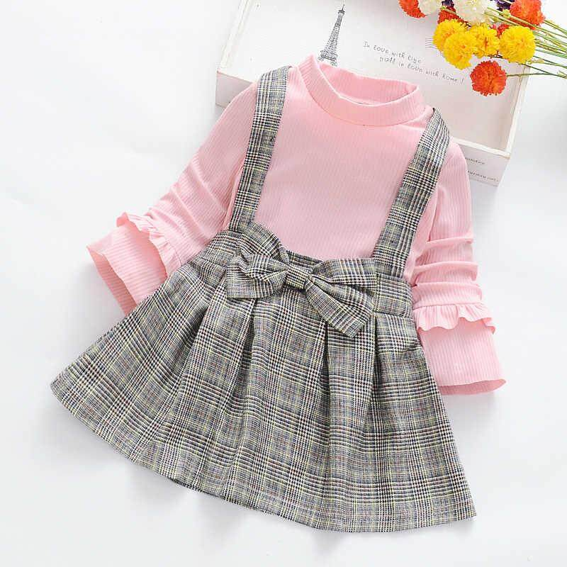 Toddler Girls Long Sleeve Flower Print Clothes Party Fake Two Pieces Dress