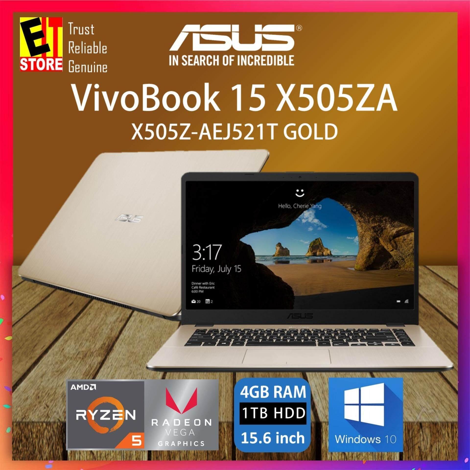 ASUS VIVOBOOK X505Z-AEJ521T GOLD (RYZEN R5-2500U/4GB/1TB/VEGA 8/15.6 FHD/W10/2YRS) + BAG Malaysia
