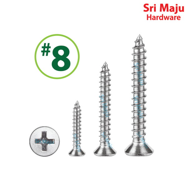 MAJU Quality ST-Flat08 #8 Self Tapping Screw Flat Head Counter Sunk for Wood Stainless Steel Driving Silver Skru Tapping