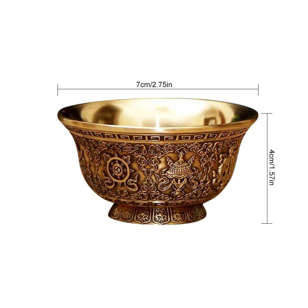 Ufa 7 PCS / Set Tibetan Singing Bowls Indian Style Pure Copper Carved Golden Bowls for The Buddha with Eight Auspicious Symbols