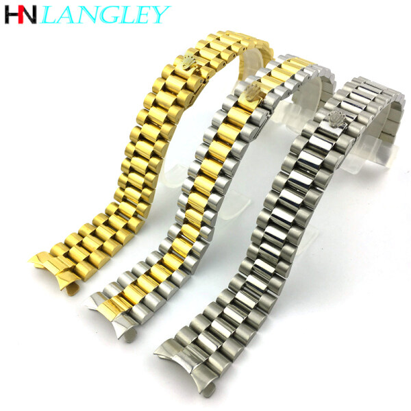 Langley Watch Band 2In1 Curved Straight End 304L Stainless Steel Replacement Strap for Rolex 20mm Watch Band Bracelet Pins Metal Clasp With Logo Malaysia