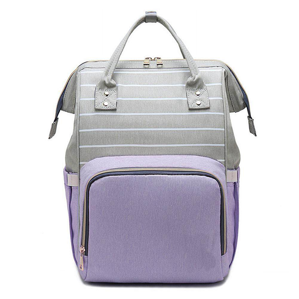 [Yulikeit]Nursing Care Baby Bag Stripe Diaper Bag Nappy Bag Organizer Waterproof Maternity Bag