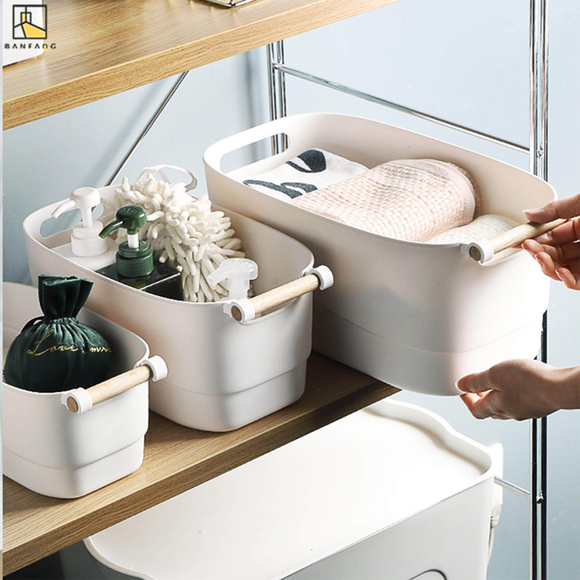 BANFANG Plastic storage basket with handle, white clothes in bedroom, sorting box, living room, sundries, snacks, toys, storage box