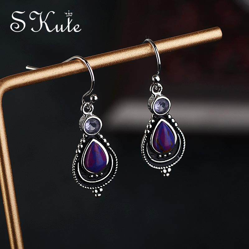 0eec3eab7 ❤SKute Jewelry Purple Stone Earrings Vintage Boho Silver Violet Turquoise  Hoop Earrings Women Bohemian Indian