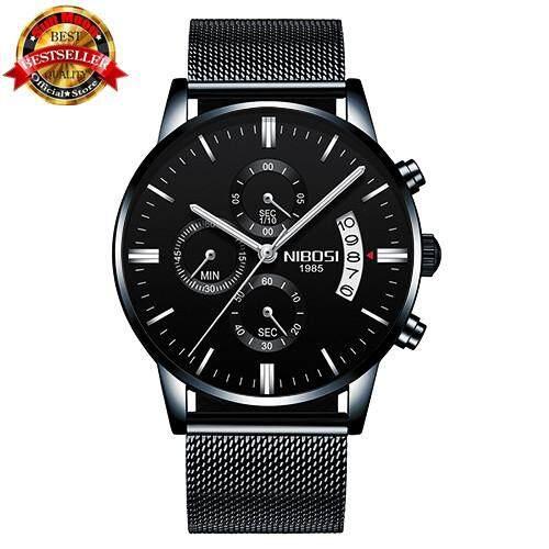 NIBOSI Luxury Brand Mens Watch Mens Mesh Steel Waterproof Clock Mens Military Quartz Fashion Sports Watch Malaysia