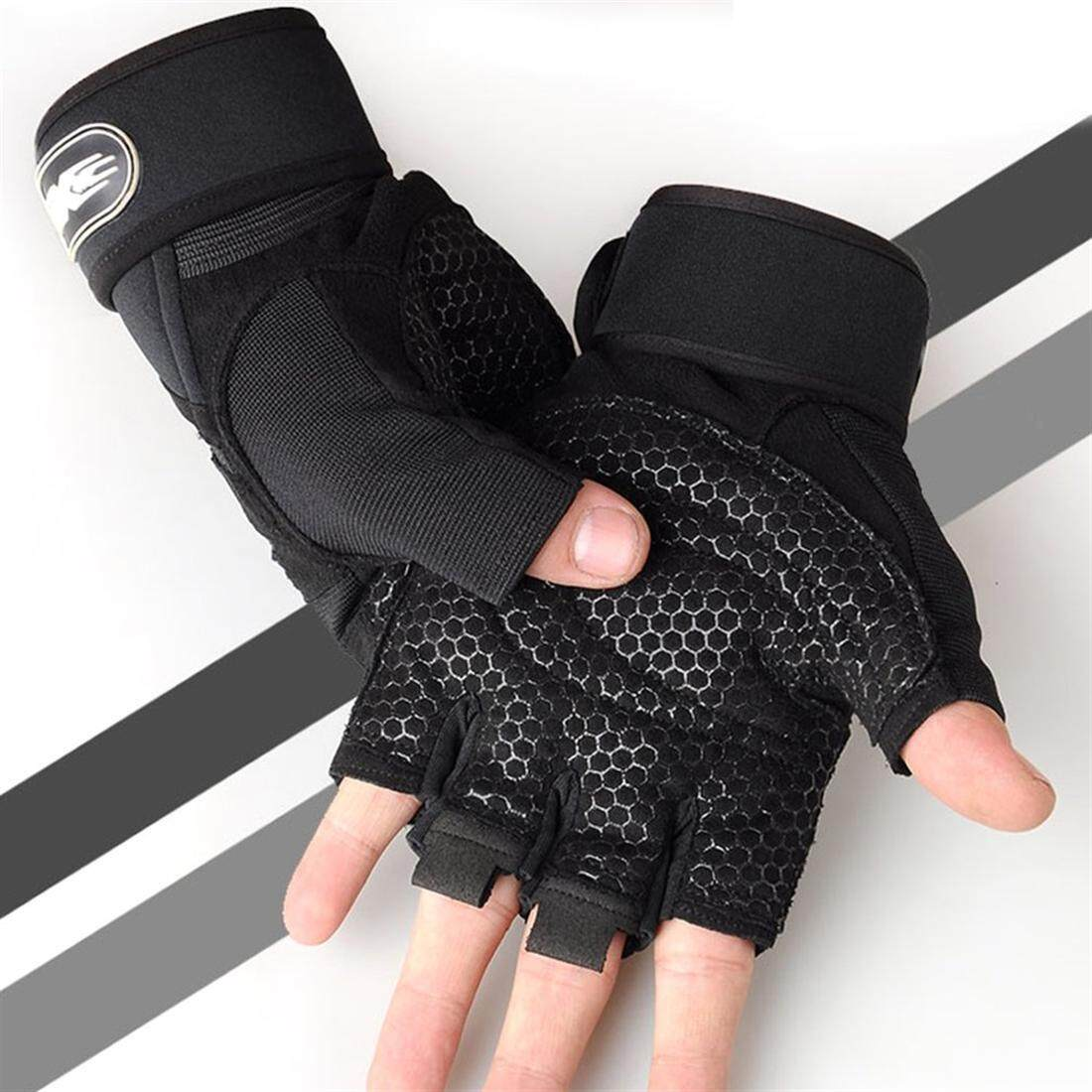 Half-Finger Cycling Gloves Weightlifting Protective Gloves With Wrist Guards By Dalingshop.
