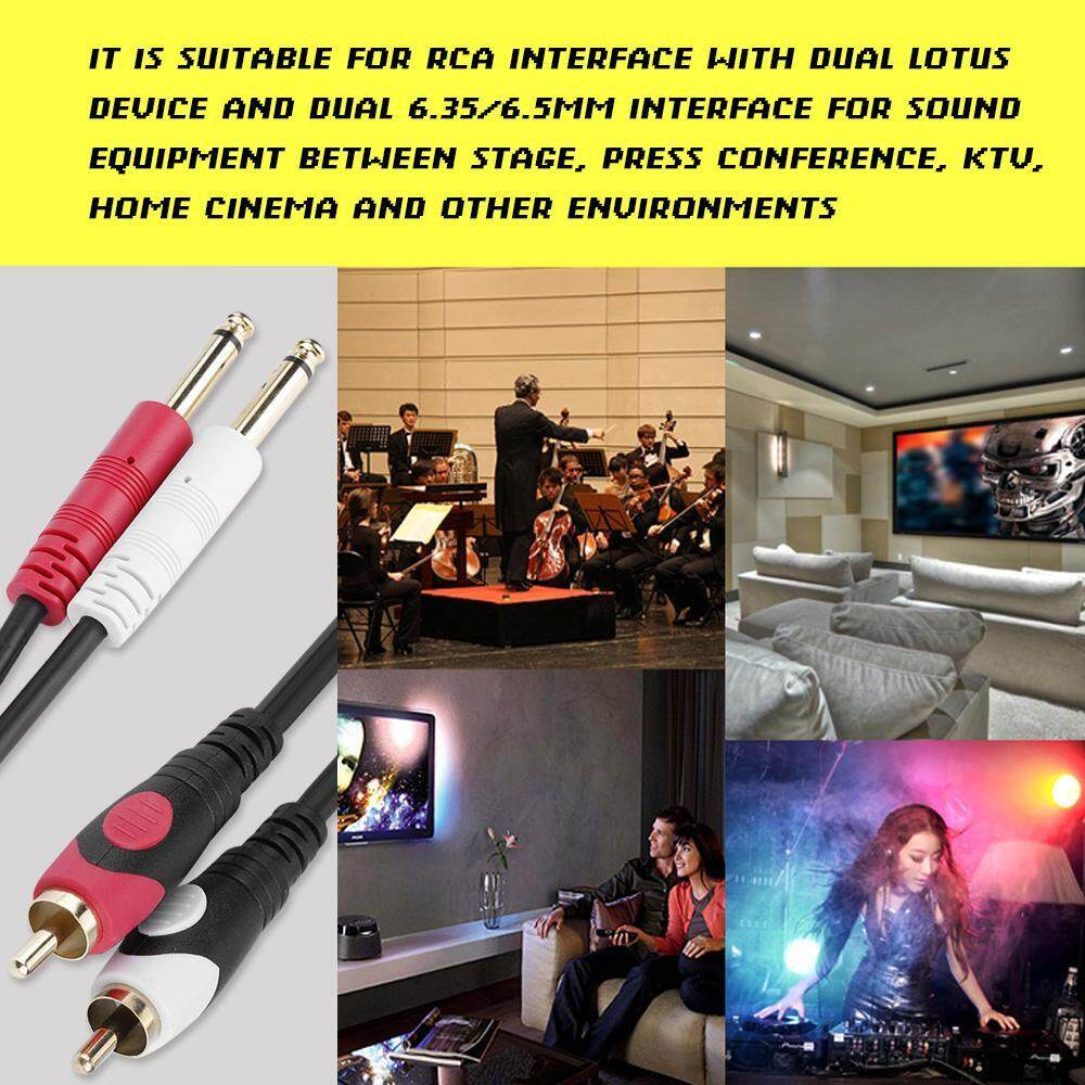 [Clearance Promotion] Cable RCA 6 inch KTV Color Connector to for 2PCS  1/4'' 35 6 35mm Plug Dual Jack Audio