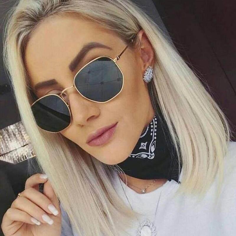845bcbca90 De moda gafas de sol mujer marca diseñador marco pequeño polígono lente claro  gafas de sol