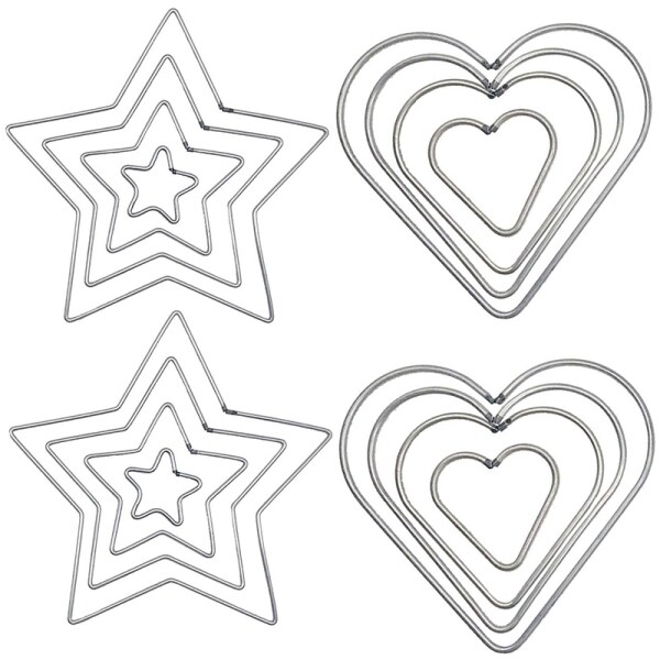 16 Pcs DIY Craft Dream Catchers Star & Heart Shape Rings Metal Hoops (Silver)