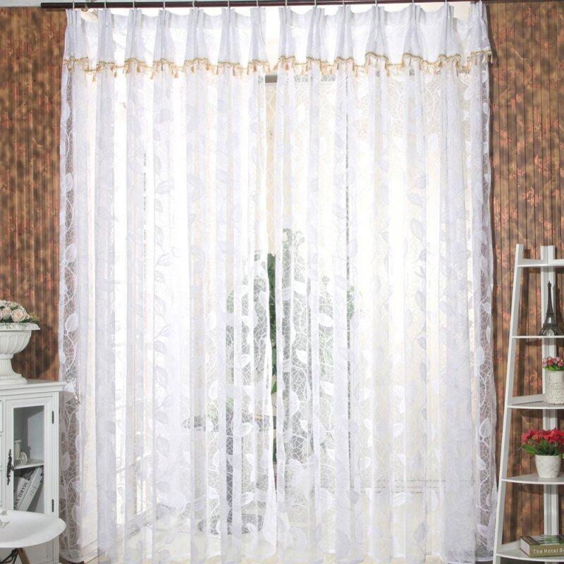 Rèm Mỏng Cửa Sổ Lãng Mạn Khăn Choàng Vải Tuyn Voan Hình Lá Vala